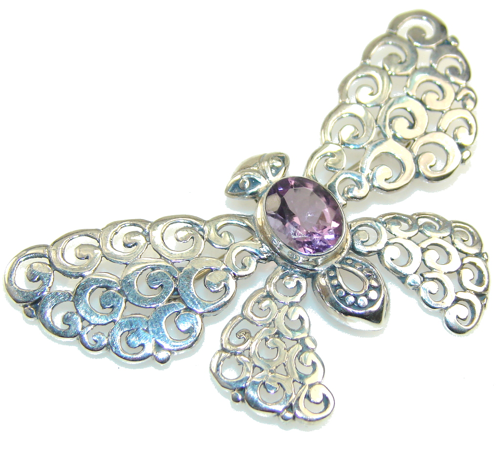Pale Beauty!! Purple Amethyst Sterling Silver Pendant / Brooch