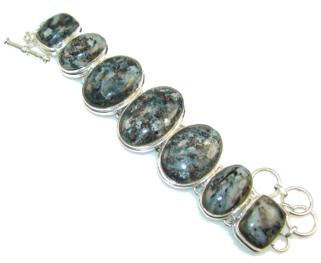 Beautiful Design Of Moss Agate Sterling Silver Bracelet