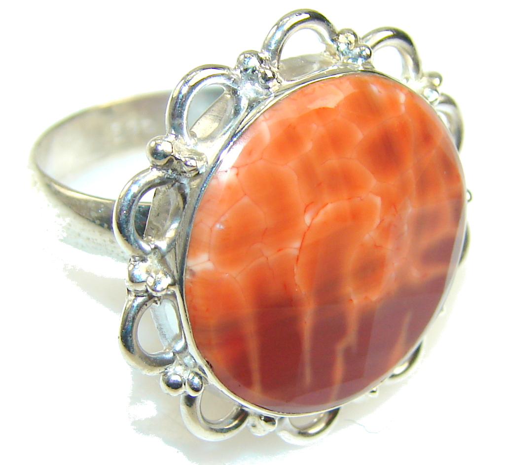 Image of Mexican Fire Agate Sterling Silver Ring s. 9