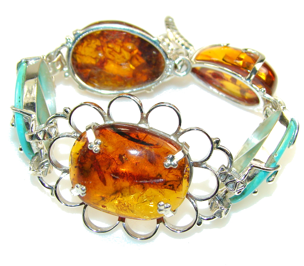 Natural Beauty!! Brown Polish Amber Sterling Silver Bracelet