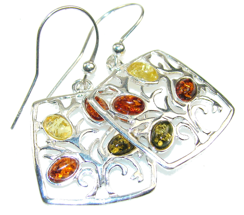 Fabulous Multicolor Polish Amber Sterling Silver earrings