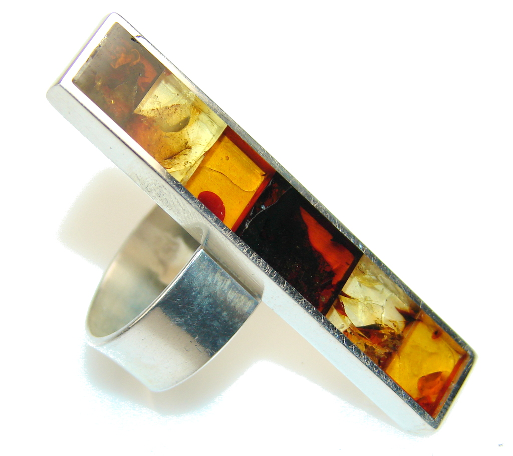 Beautiful Mosaic Polish Amber Sterling Silver Ring s. 9