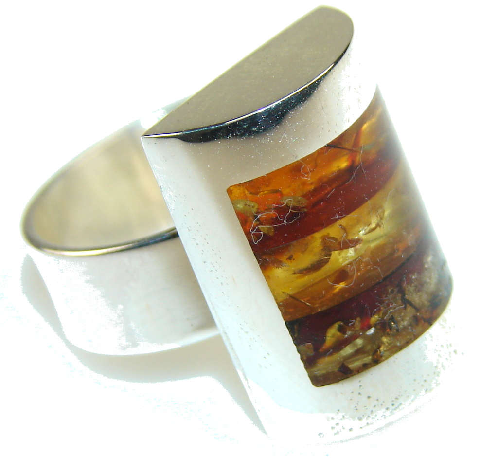 Fabulous Mosaic Polish Amber Sterling Silver Ring s. 8