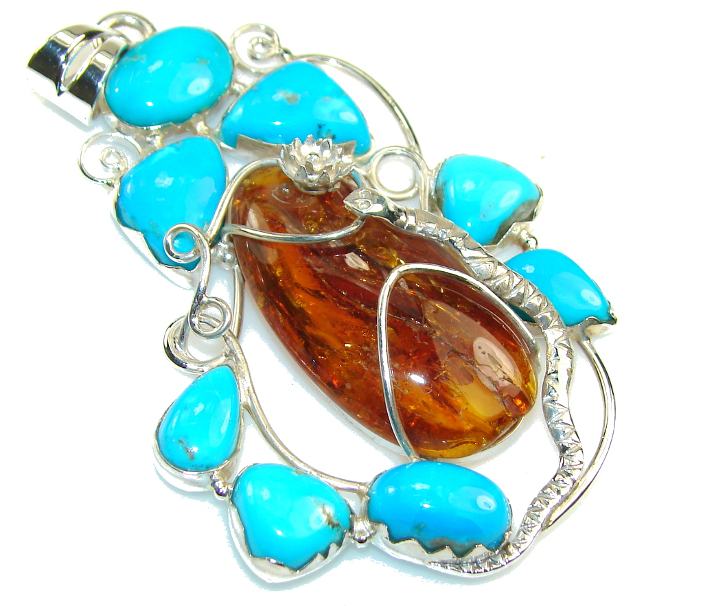 New Design!! Polish Amber Sterling Silver Pendant