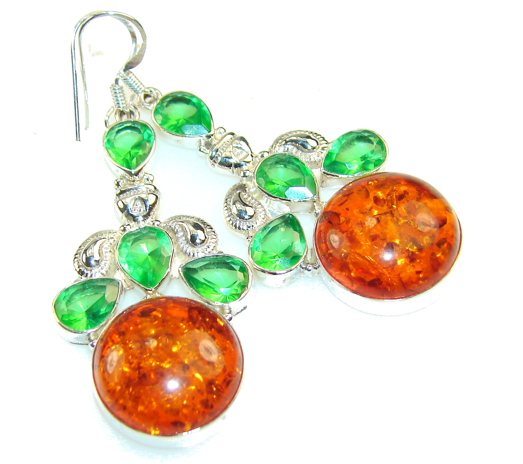 Fantastic Brown Amber Sterling Silver earrings
