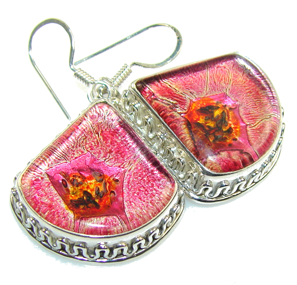 Path Of Life!! Dichroic Glass Sterling Silver earrings