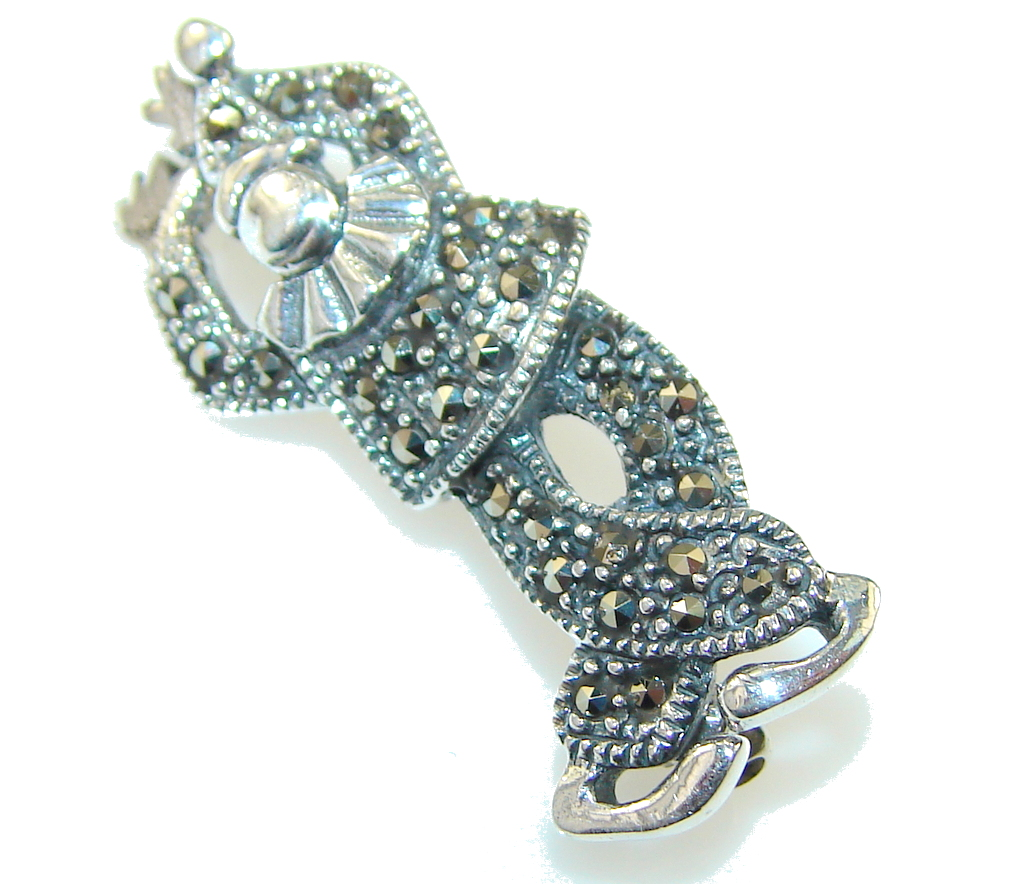 Fancy Marcasite Sterling Silver Pendant / brooch