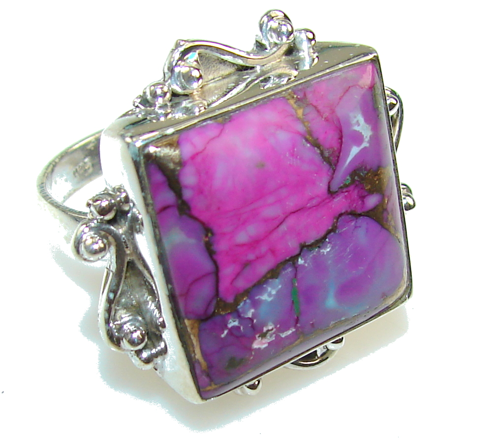 Purple Copper Turquoise Sterling Silver Ring s. 11