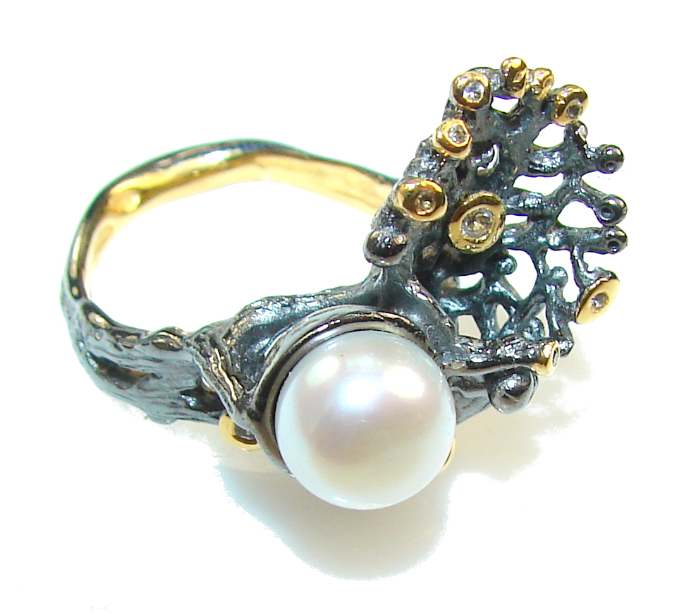 jewelpearl.com view the photo of  Gorgeous Italy Made, Rhodium Plated, 18ct Gold Plated Fresh Water Pearl Sterling Silver ring; 7 1/2