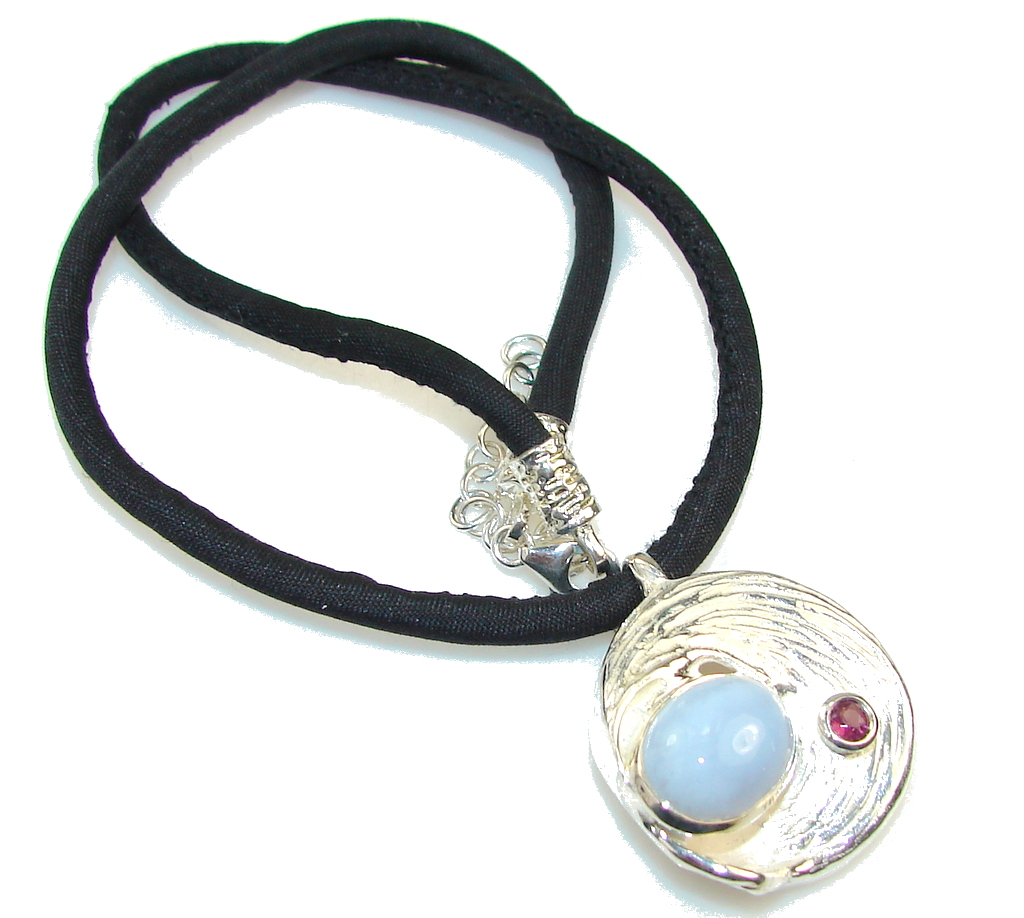 Delicate Italy Made Light Blue Agate Sterling Silver necklace