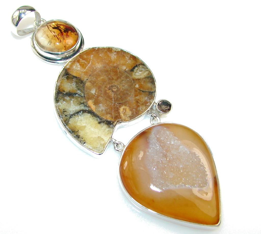 Big Great Impression!! Ammonite Fossil Sterling Silver pendant