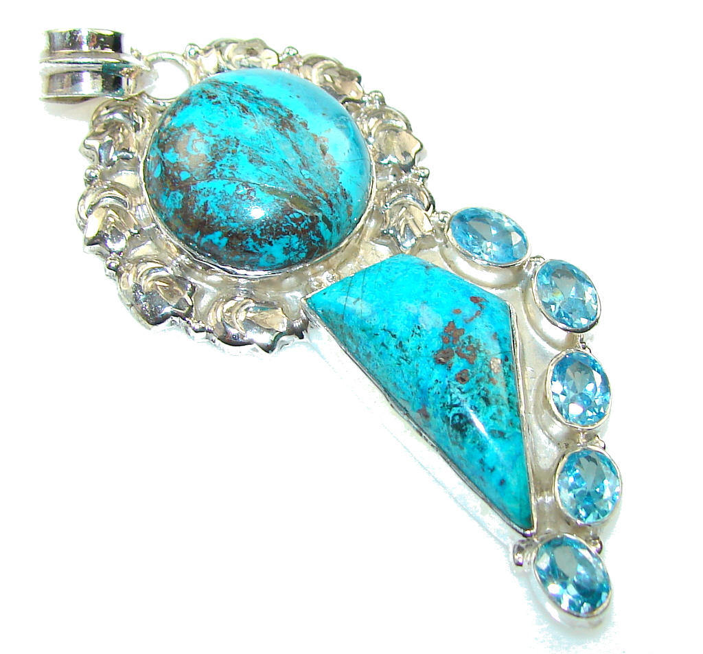 Regal Blue!! Chrysocolla Sterling Silver pendant