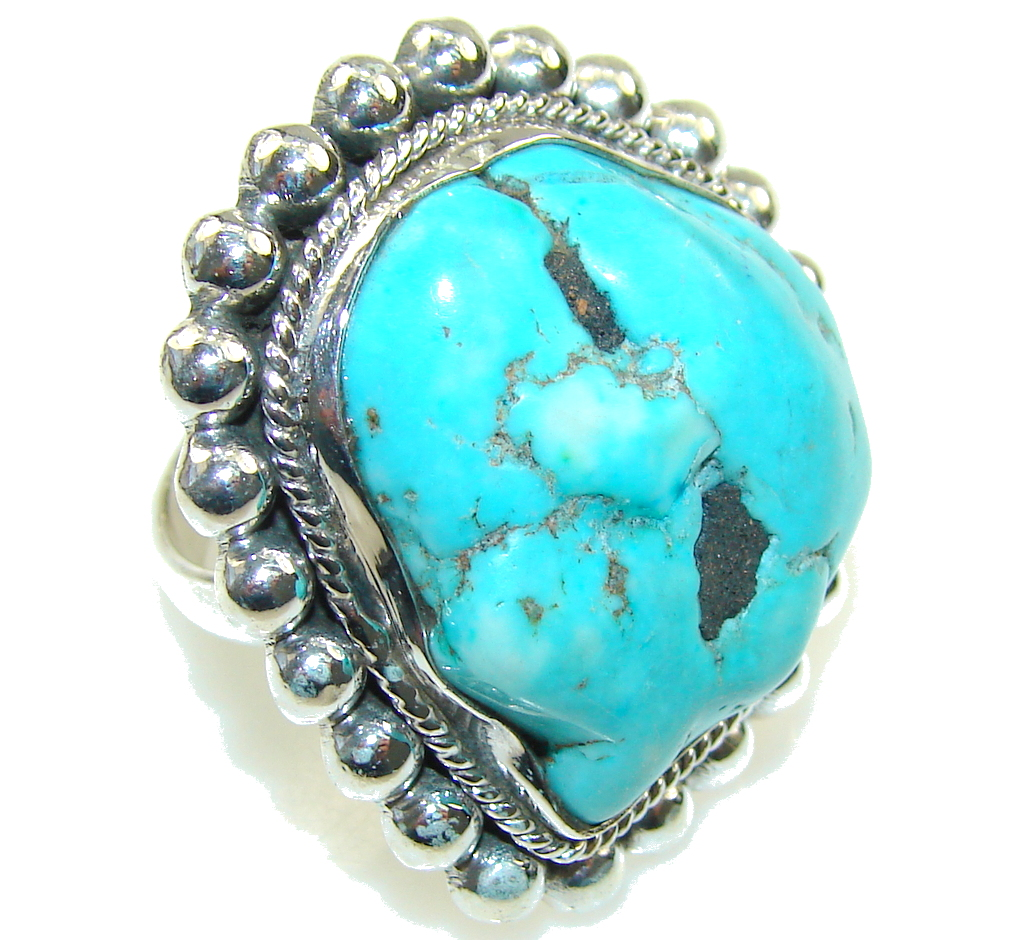 Stylish Blue Turquoise Sterling Silver Ring s. 10 1/4