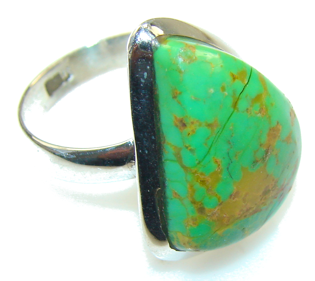 Classy Green Copper Turquoise Sterling Silver Ring s. 8