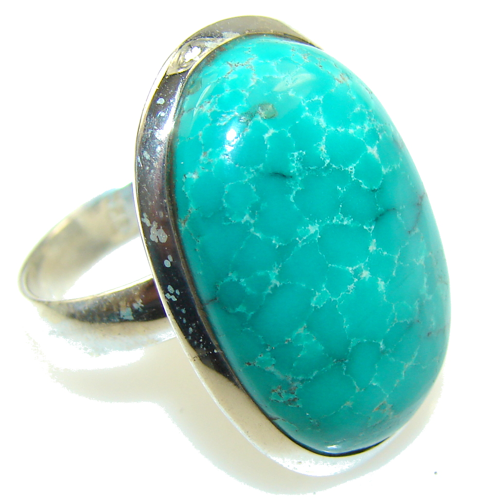 Beautiful! Blue Turquoise Sterling Silver Ring s. 9