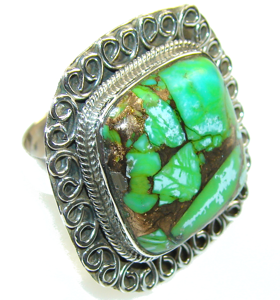 Amazing Green Copper Turquoise Sterling Silver Ring s. 7 1/2