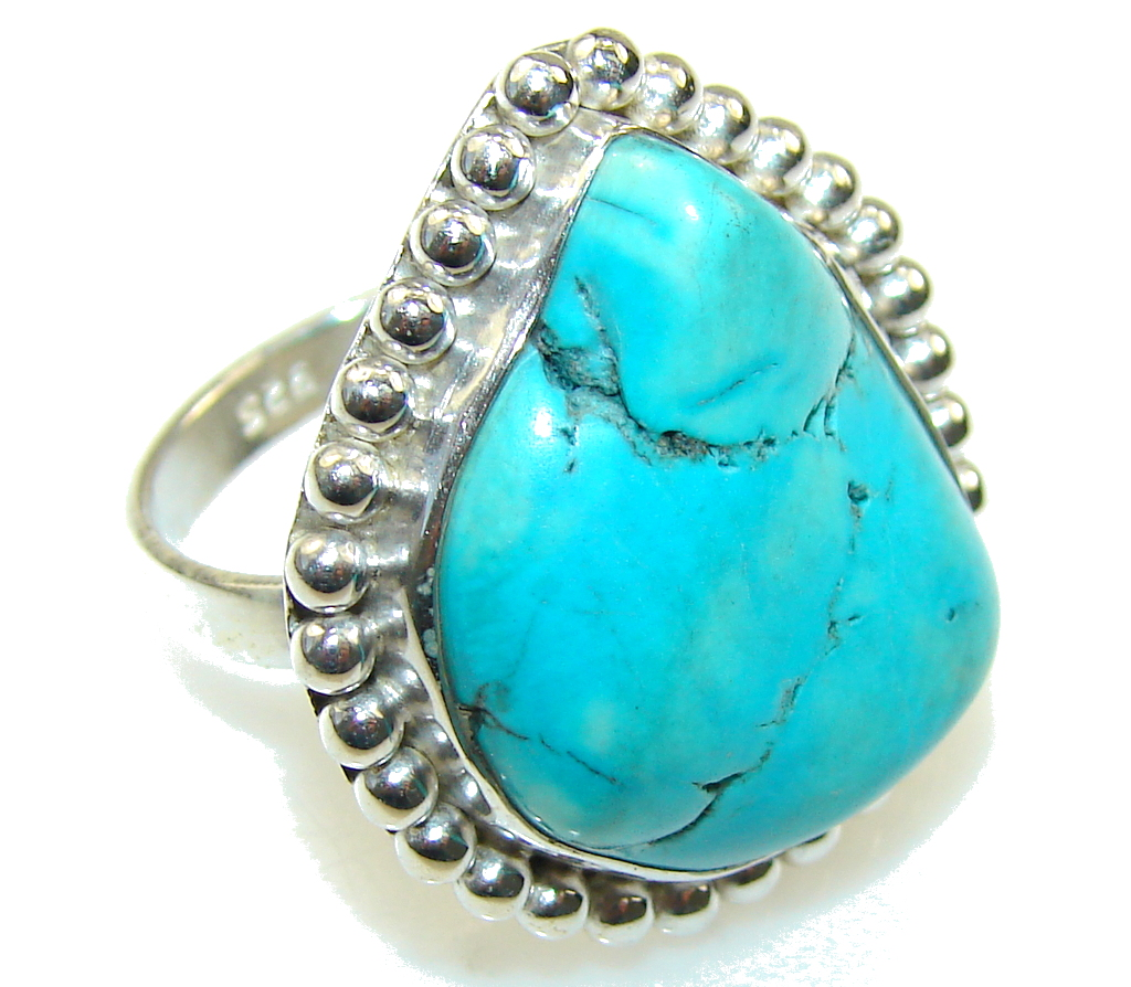 Brazilian Sea!! Blue Turquoise Sterling Silver Ring s. 6