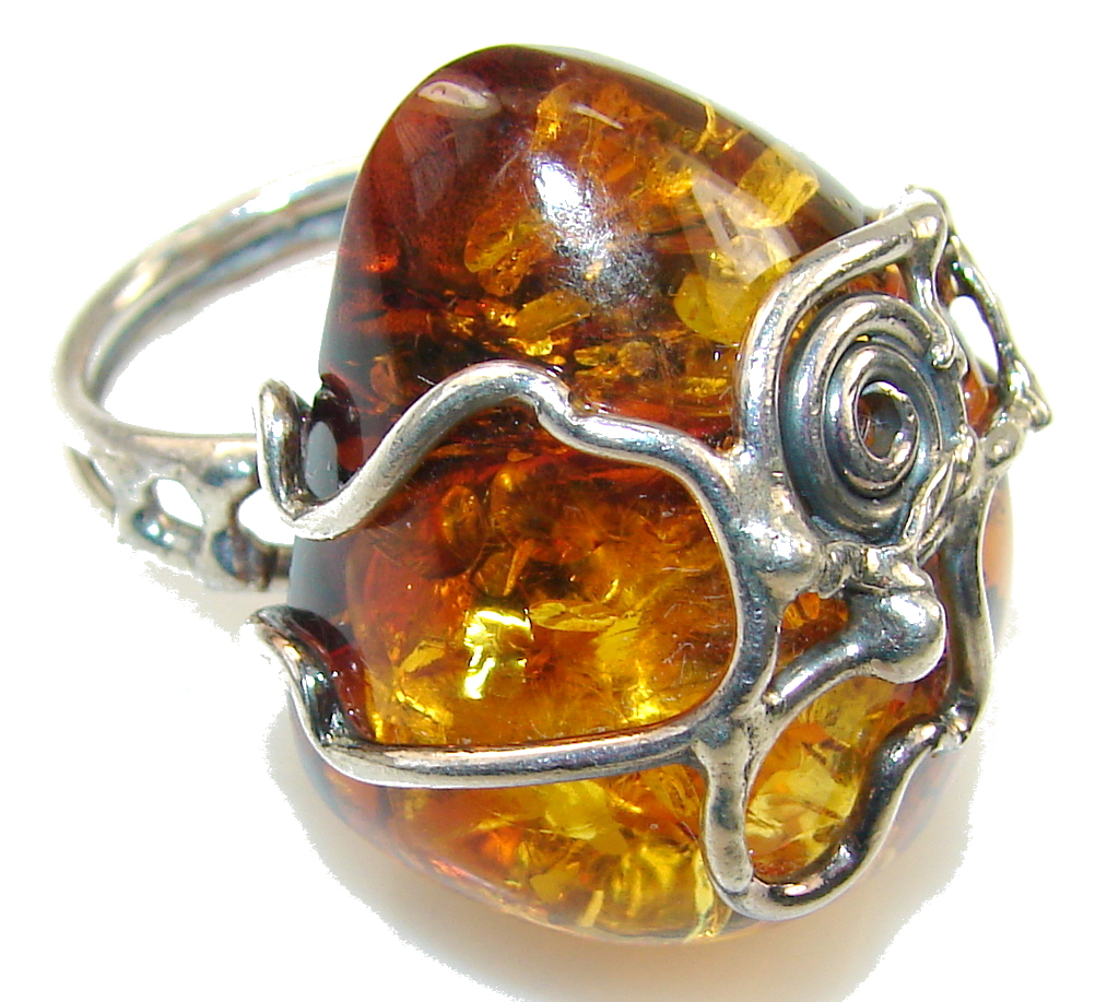Beautiful Polish Amber Sterling Silver Ring s. 6 1/4