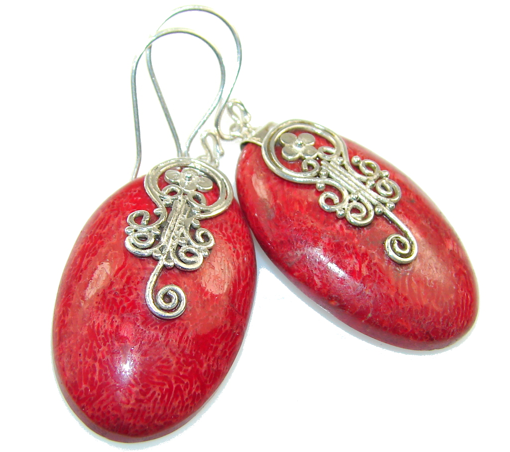 True Love!! Red Fossilized Coral Sterling Silver earrings