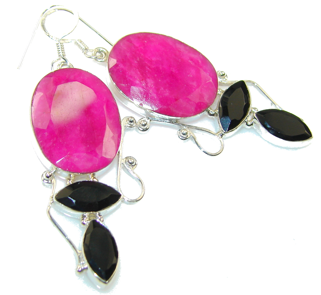 Amazing Color Of Pink Ruby Sterling Silver earrings