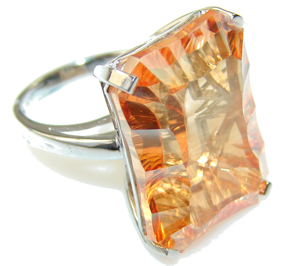 Awesome Style Of Golden Topaz Sterling Silver Ring s. 7 1/4
