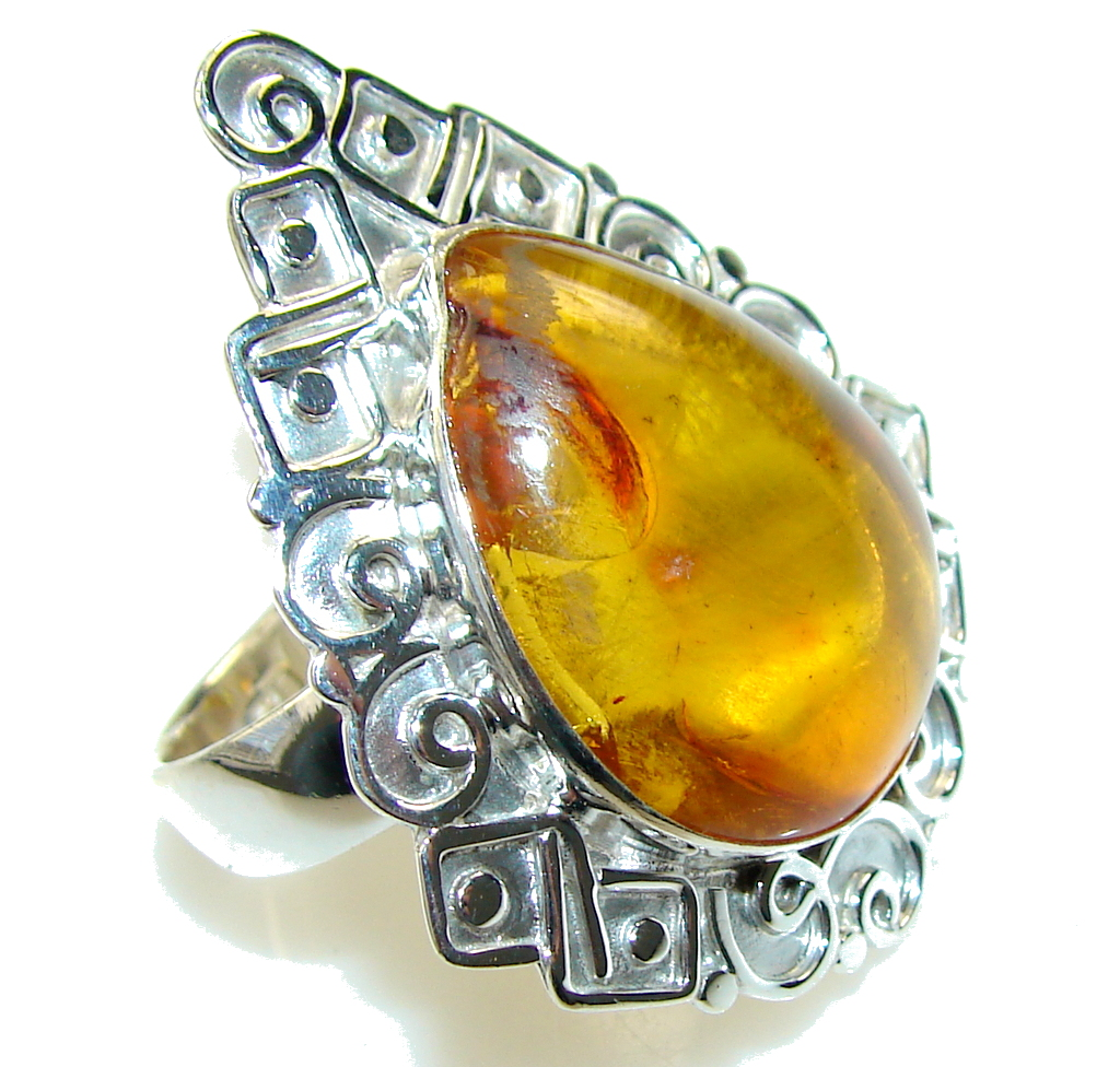Beautiful!! Polish Amber Sterling Silver Ring s. 11