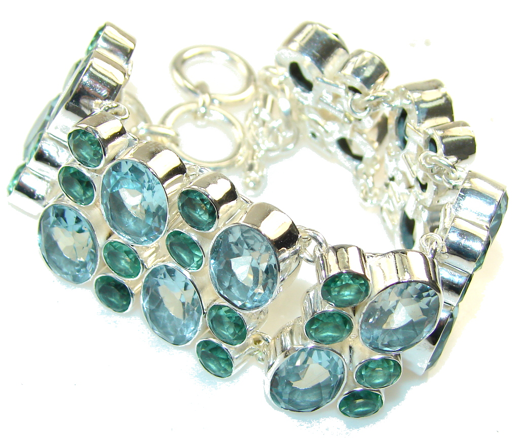 Mystic Sky!! Very Light Swiss Blue Topaz Sterling Silver Bracelet