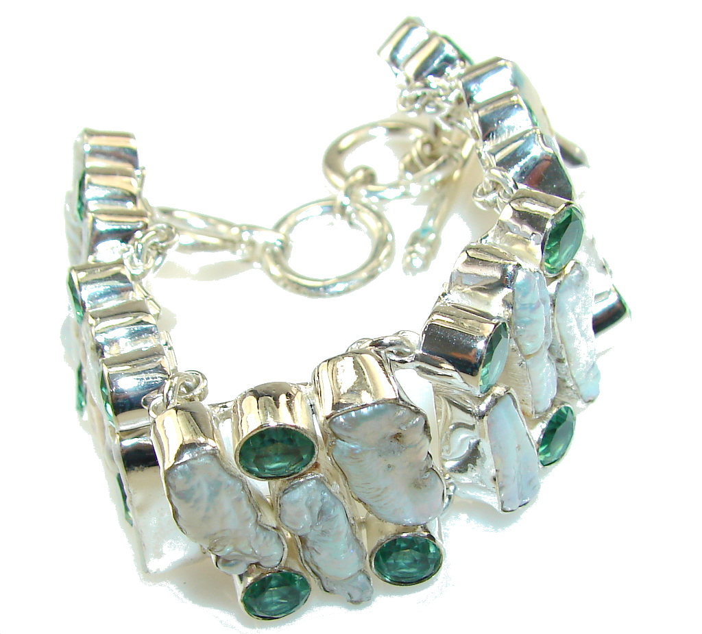 Aura Of Beauty!! Mother Of Pearl Sterling Silver Bracelet