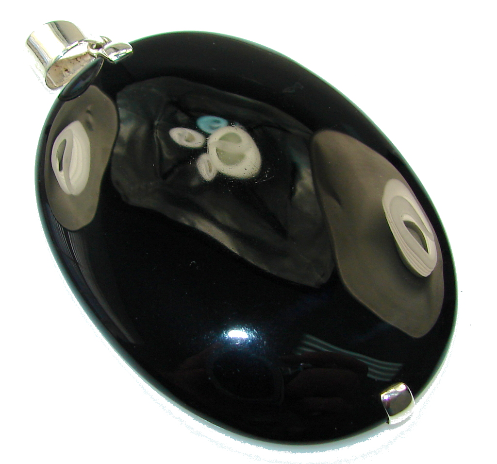 Huge!! Amazing Black Onyx Sterling Silver Pendant