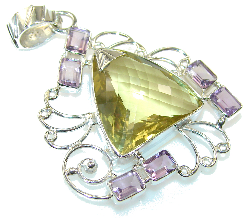 Natural Yellow Citrine Sterling Silver Pendant