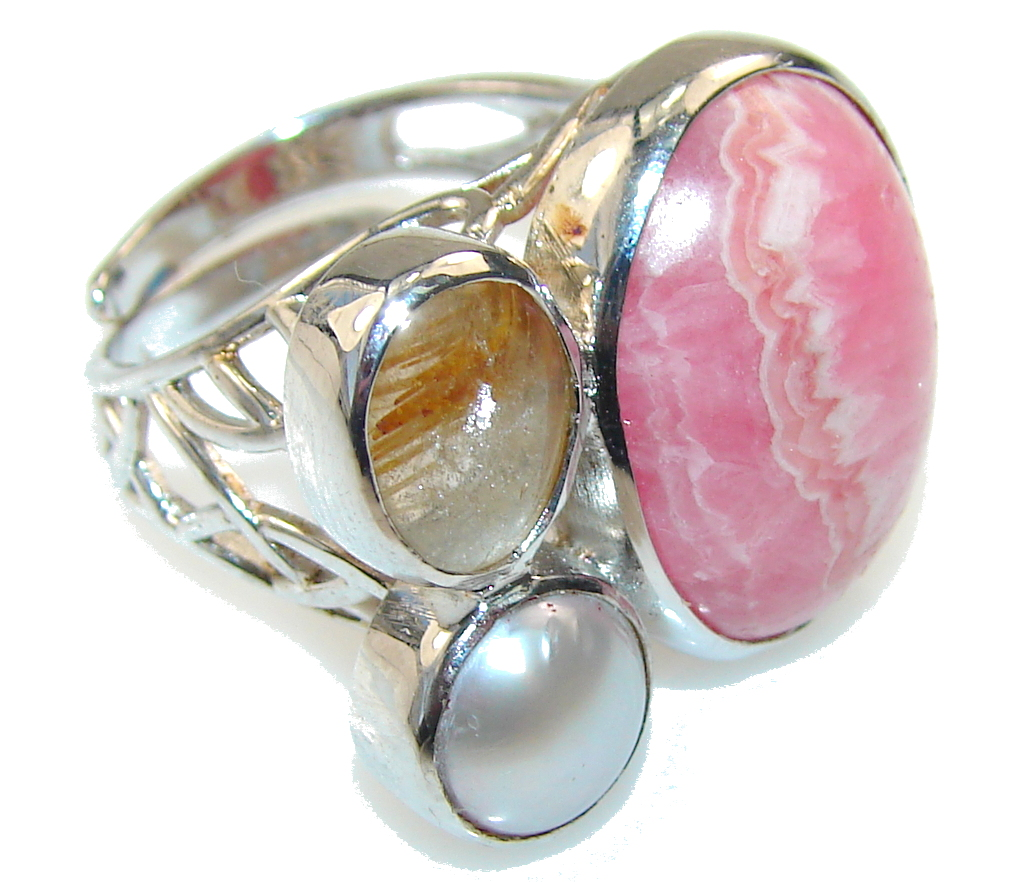 Stylish Rhodochrosite Sterling Silver ring s. 9 - adjustable