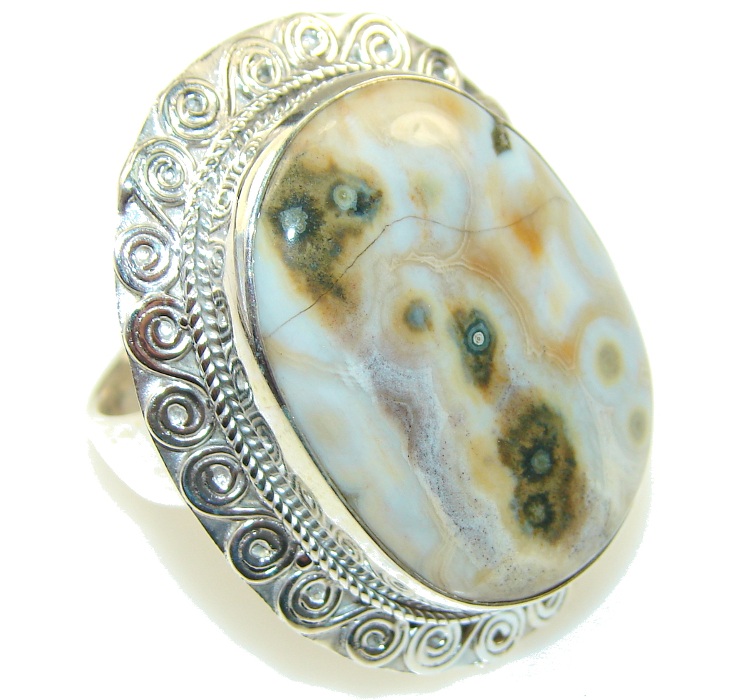 Big!! Fabulous Ocean Jasper Sterling Silver Ring s. 11