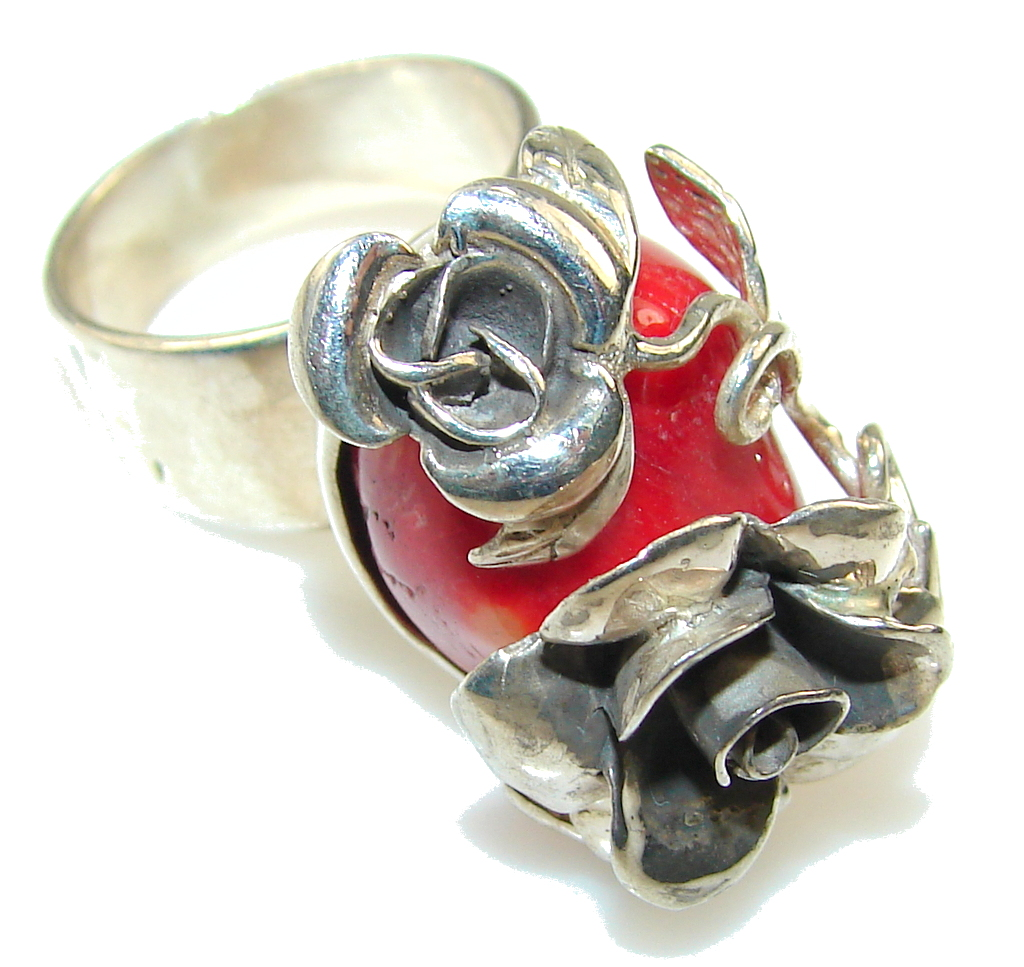 New Design!! Red Fossilized Coral Sterling Silver ring s. 9
