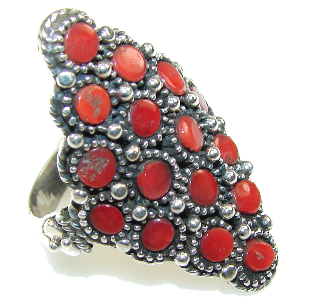 Classy Red Fossilized Coral Sterling Silver ring s. 9 1/2