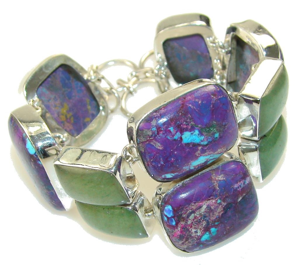 Aura Of Beauty!! Purple Turquoise Sterling Silver Bracelet