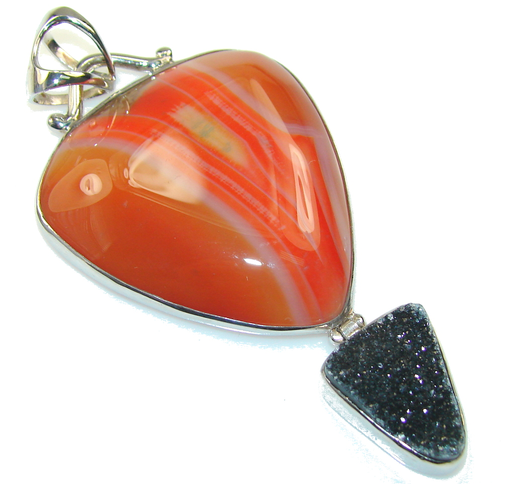 Big Excellent Brown Botswana Agate Sterling Silver Pendant