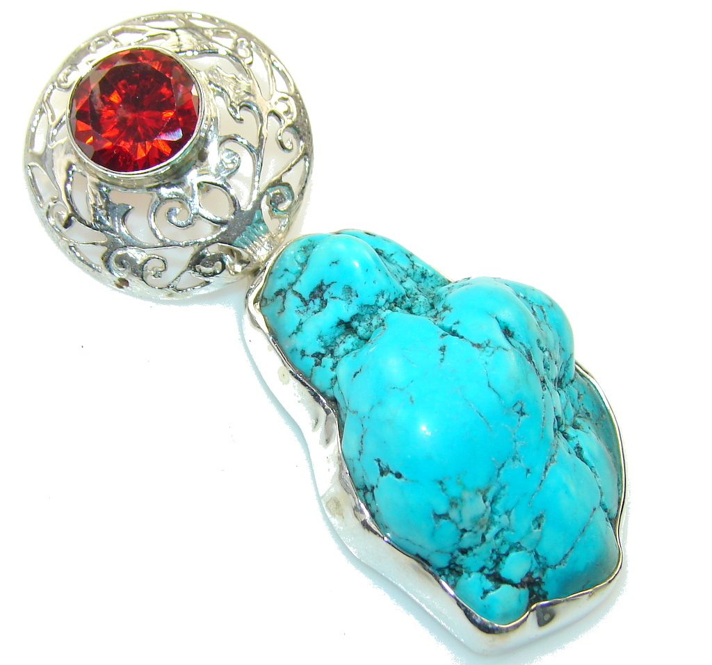 Classic Blue Turquoise Sterling Silver Pendant