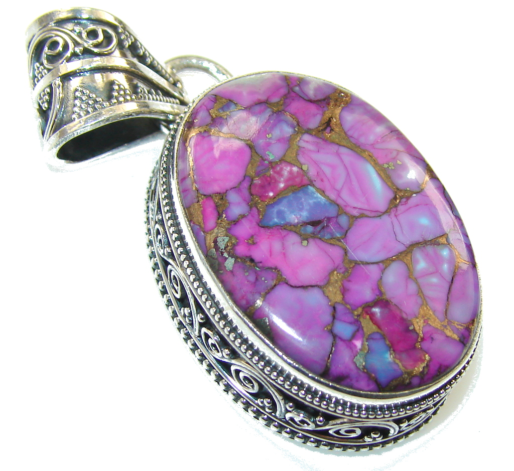 Beautiful! Copper Turquoise Sterling Silver Pendant