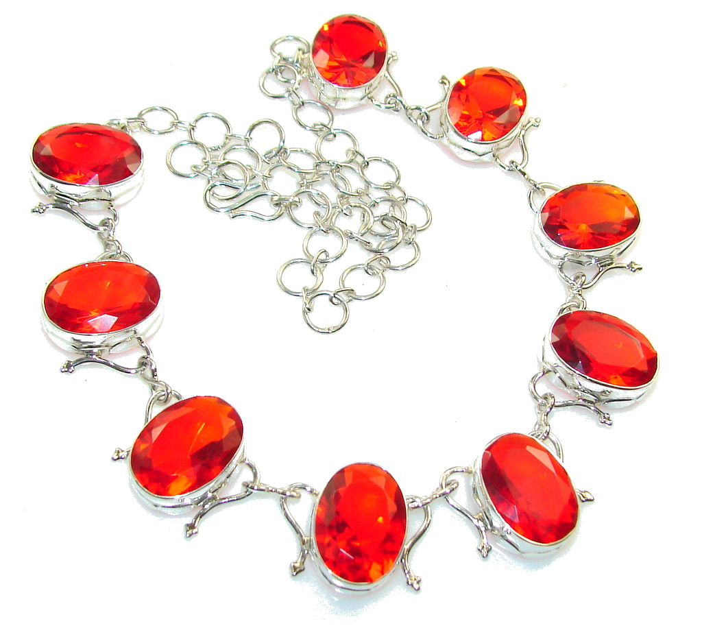 Red Aura!! Red Quartz Sterling Silver necklace