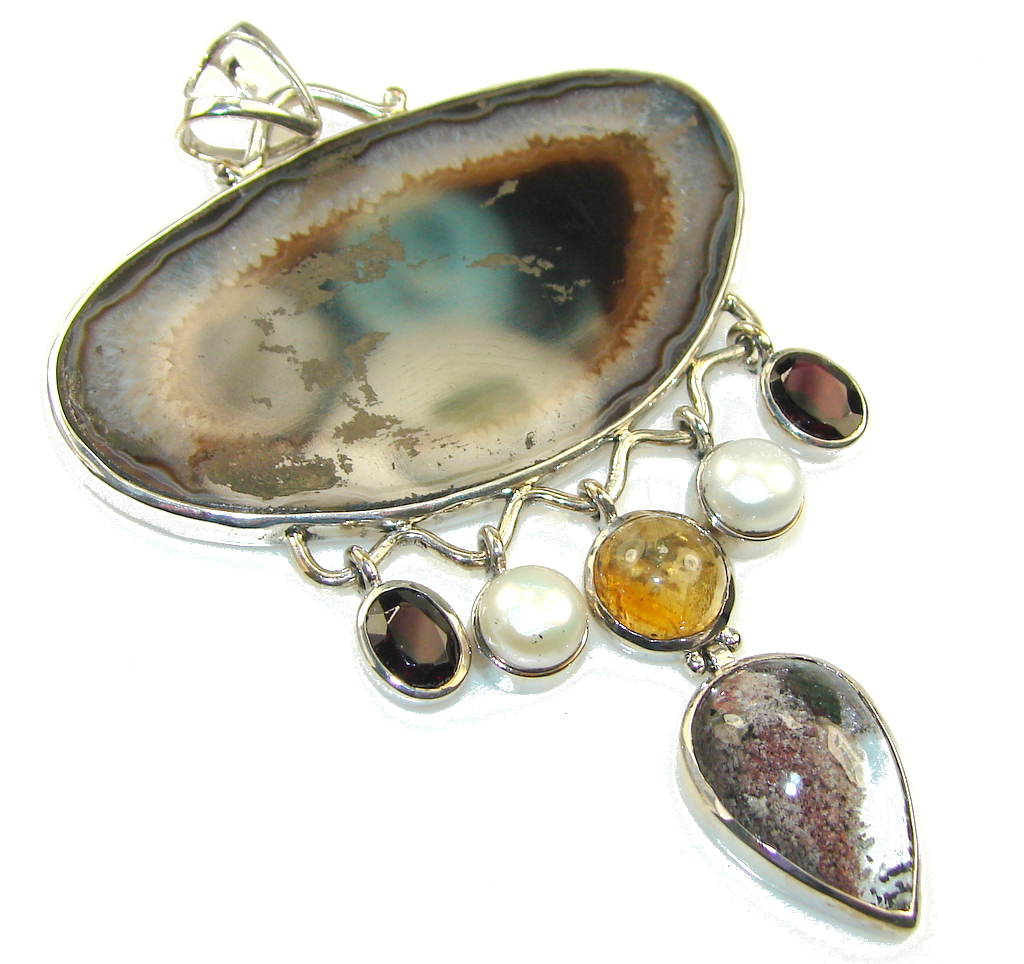 Huge!! New Design Of Agate Sterling Silver pendant