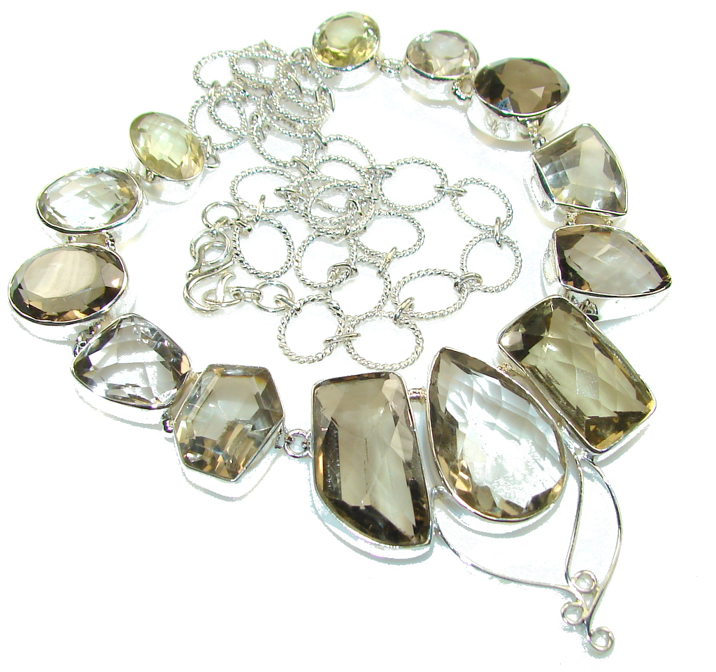 Maya Dreams!! Light Brown Smoky Topaz Sterling Silver necklace