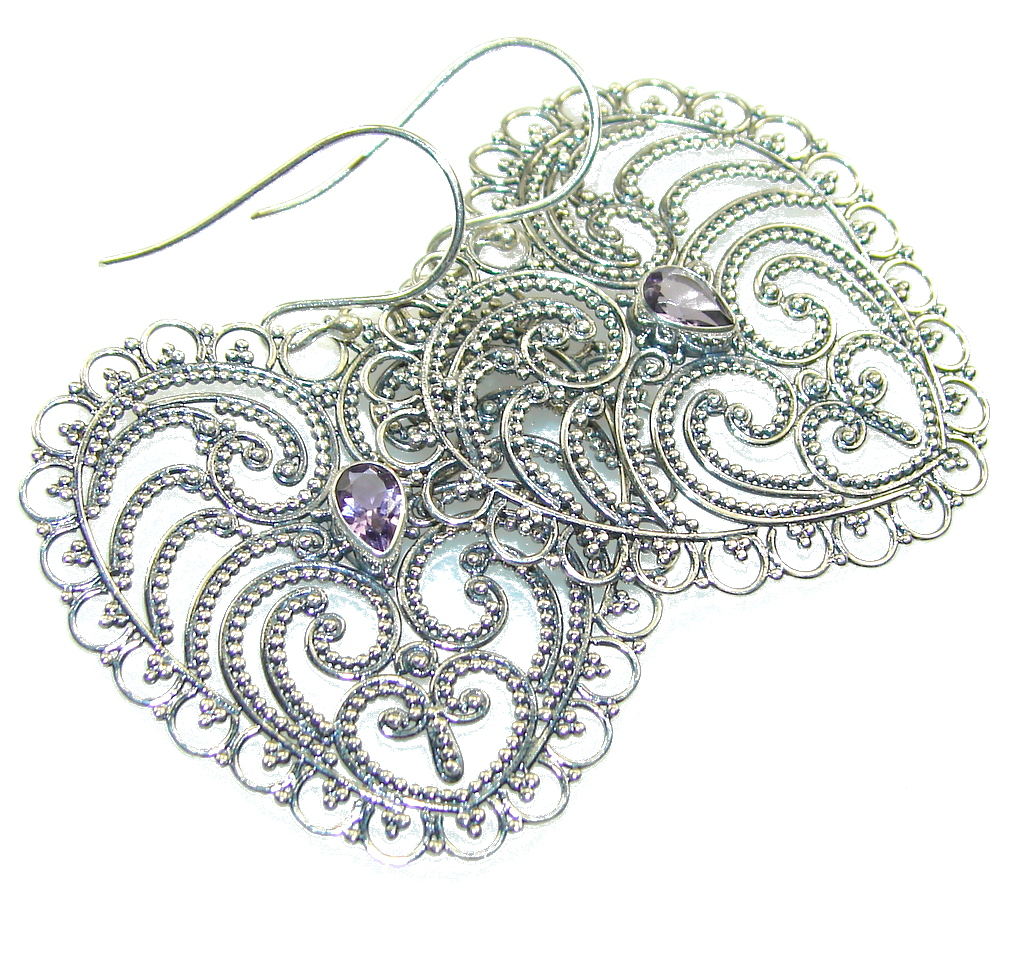 Amazing Style!! Light Purple Amethyst Sterling Silver earrings