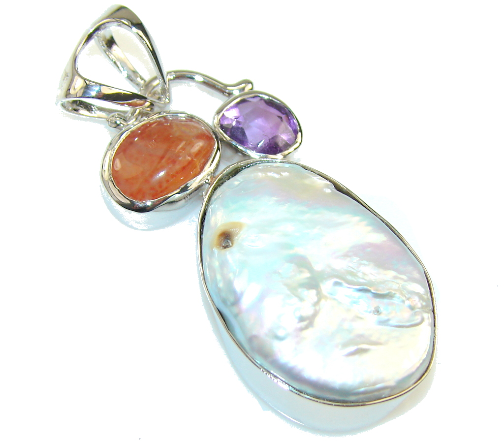 Fabulous Mother Of Pearl Sterling Silver Pendant