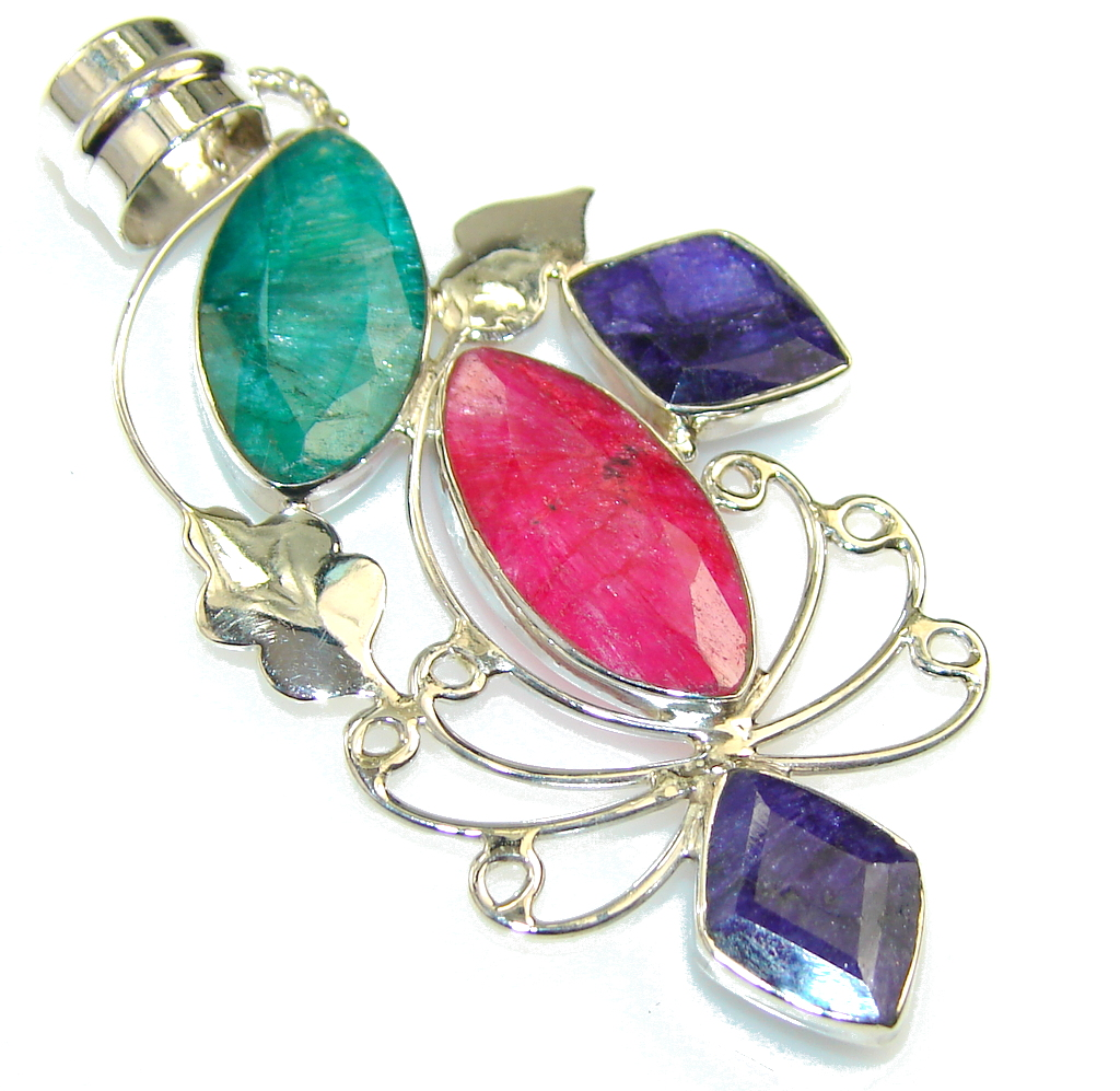 Natural Pink Ruby & Emerald & Sapphire Sterling Silver Pendant