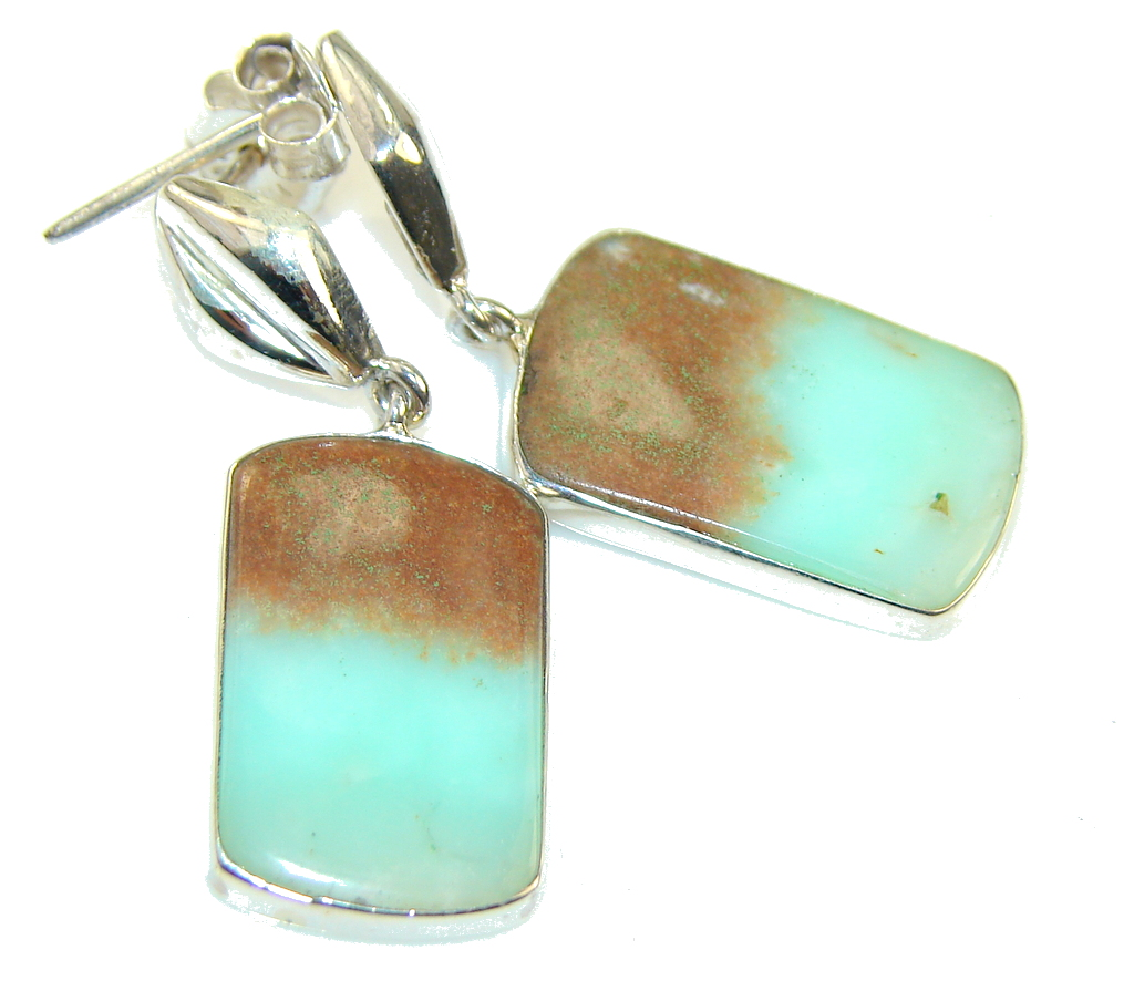 Ray Of Light! Chrysoprase Sterling Silver earrings 78457