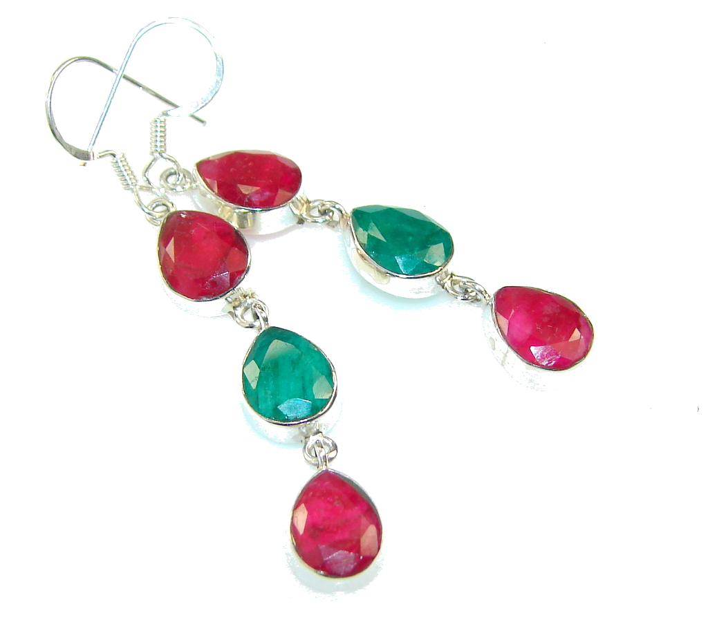 Delicate Green Emerald & Ruby Sterling Silver earrings