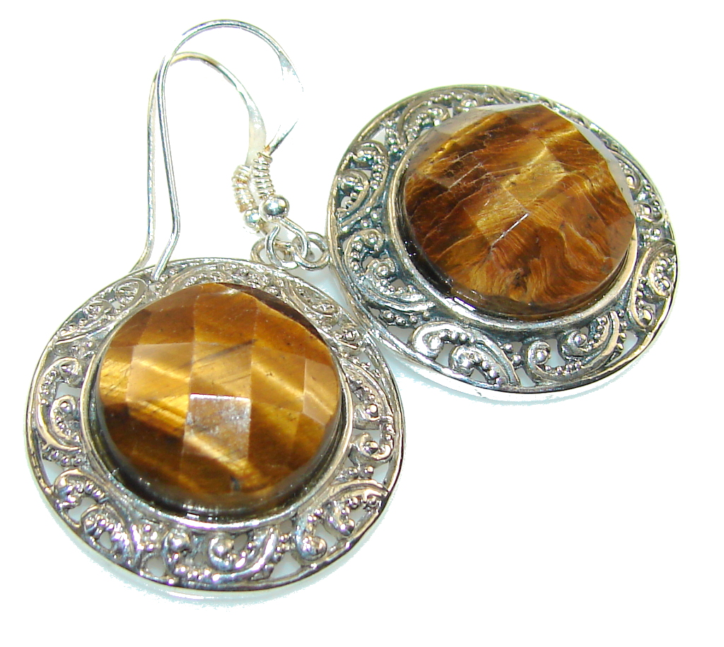 Fantasy! Brown Tigers Eye Sterling Silver earrings