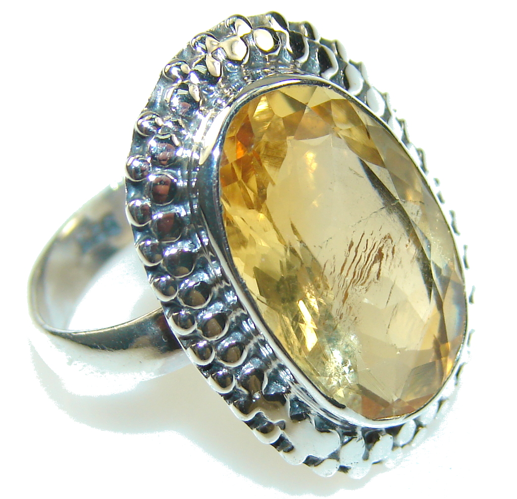 Awesome Yellow & Orange Quartz Sterling Silver Ring s. 8 1/2