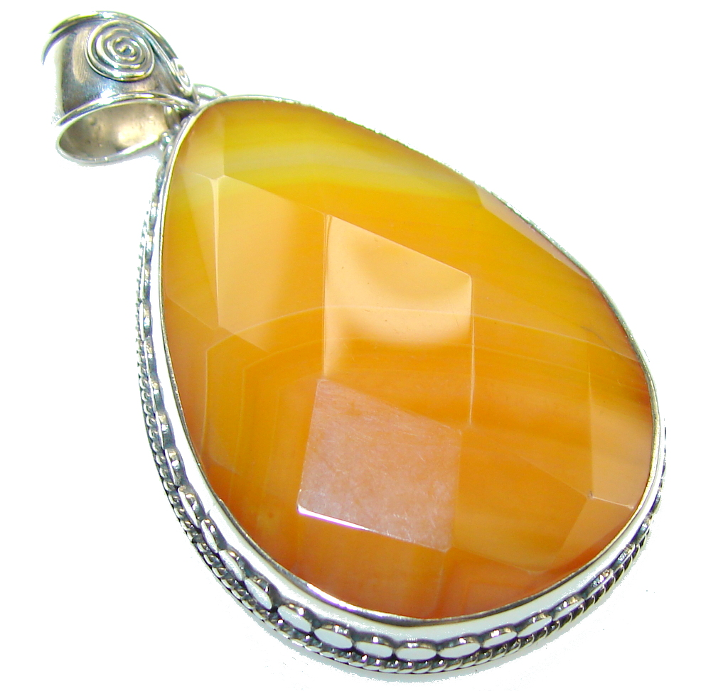 HOHOHO Orange Agate Sterling Silver pendant