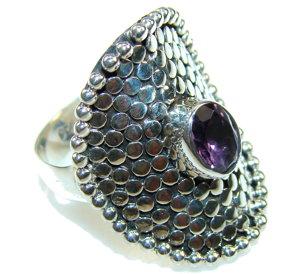 Amazing Purple Amethyst Sterling Silver ring s. 8